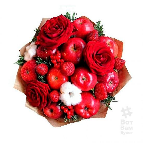 Букет из яблок и красных роз