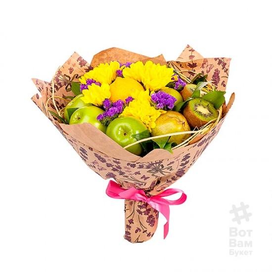 Букет Хризантем и фруктов