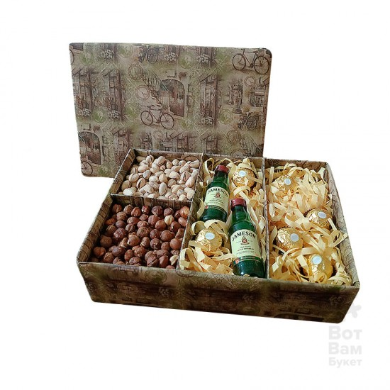 Мужская подарочная коробка с Орехами, Jameson и конфетами Ferrero Rocher